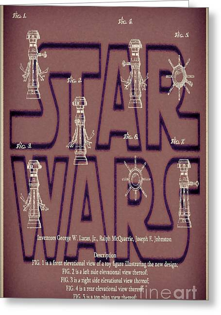 Fx Greeting Cards - Star Wars FX-7 Patent Brown Greeting Card by Brian Lambert