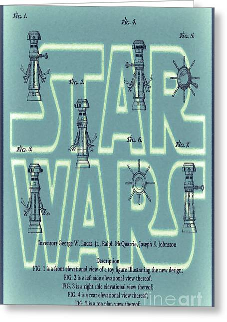 Fx Greeting Cards - Star Wars FX-7 Patent Green Greeting Card by Brian Lambert