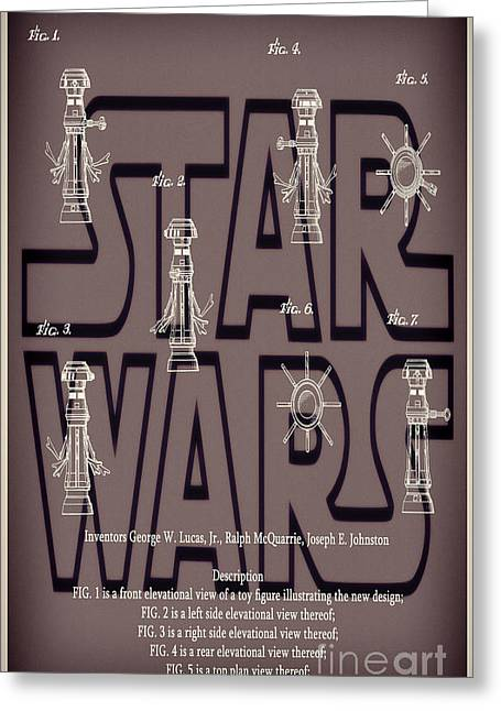 Fx Greeting Cards - Star Wars FX-7 Patent Red Greeting Card by Brian Lambert