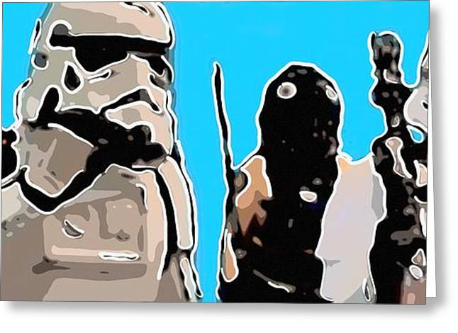 Blaster Greeting Cards - Star Wars parade Greeting Card by Toppart Sweden