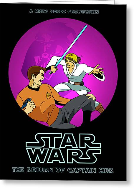 Captain Kirk Greeting Cards - Star Wars Poster Greeting Card by Mista Perez Cartoon Art