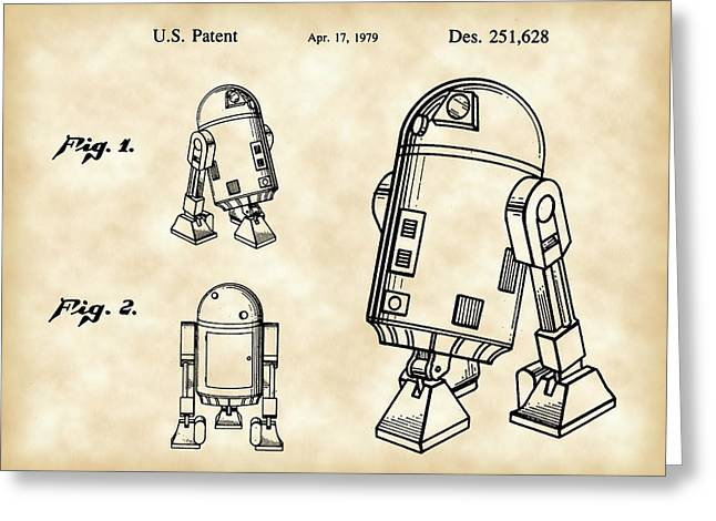 Galactic Empire Greeting Cards - Star Wars R2-D2 Patent 1979 - Vintage Greeting Card by Stephen Younts