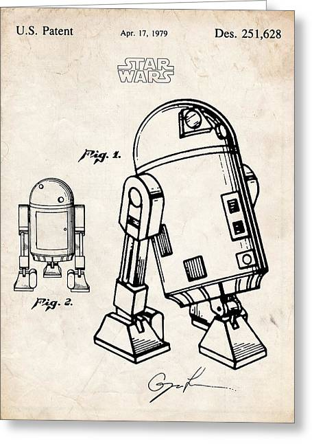 Atat Greeting Cards - Star Wars R2D2 Robot Droid Patent Art Greeting Card by Stephen Chambers