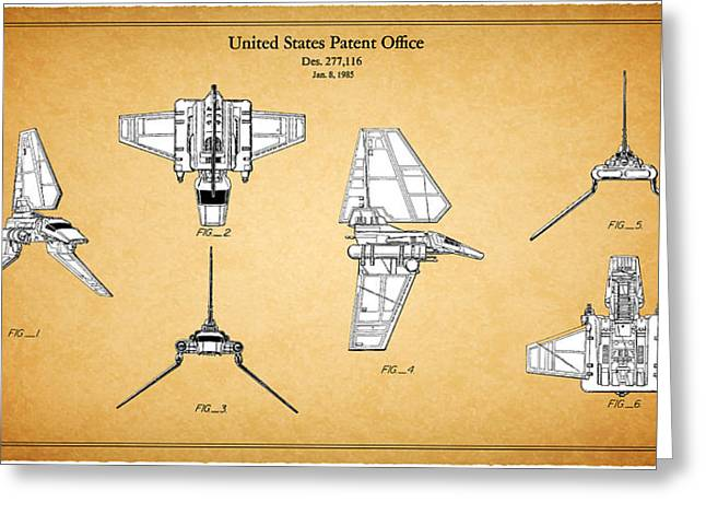 Star Wars Photographs Greeting Cards - Star Wars - Shuttle Patent Greeting Card by Mark Rogan