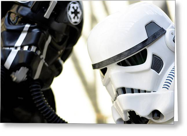 Amusements Mixed Media Greeting Cards - Star Wars Stormtrooper closeup Greeting Card by Toppart Sweden