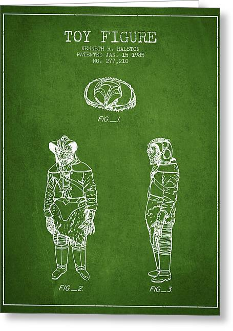 Science Fiction Art Greeting Cards - Star Wars Toy Figure no3 patent drawing from 1985 - Green Greeting Card by Aged Pixel