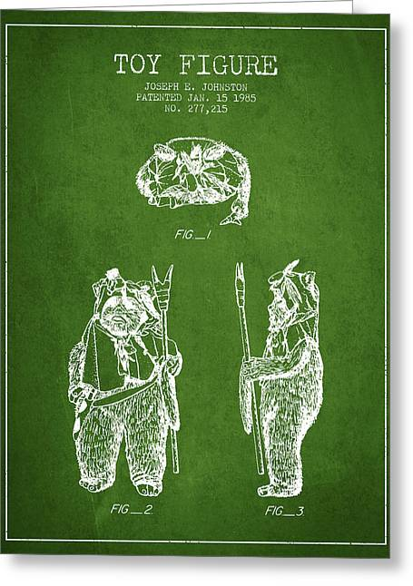 Science Fiction Art Greeting Cards - Star Wars Toy Figure no4 patent drawing from 1985 - Green Greeting Card by Aged Pixel