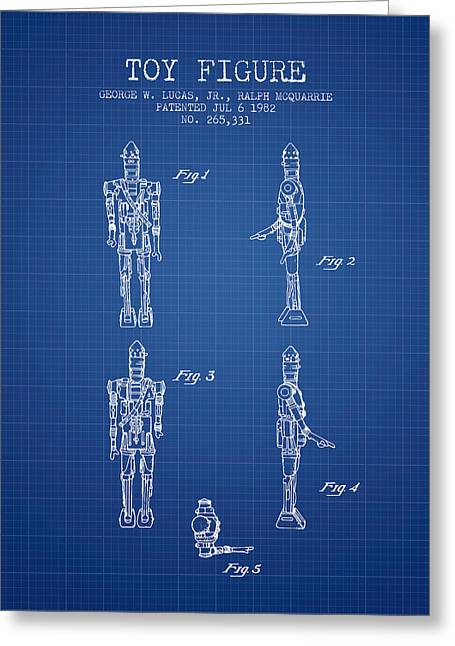 Science Fiction Art Greeting Cards - Star Wars Toy Figure no5 patent drawing from 1982 - Blueprint Greeting Card by Aged Pixel