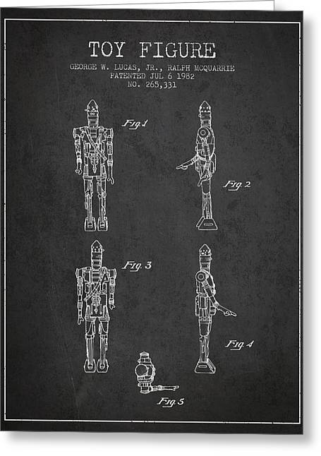 Science Fiction Art Greeting Cards - Star Wars Toy Figure no5 patent drawing from 1982 - Charcoal Greeting Card by Aged Pixel