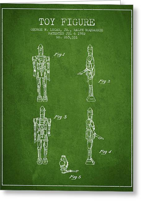 Boba Fett Greeting Cards - Star Wars Toy Figure no5 patent drawing from 1982 - Green Greeting Card by Aged Pixel