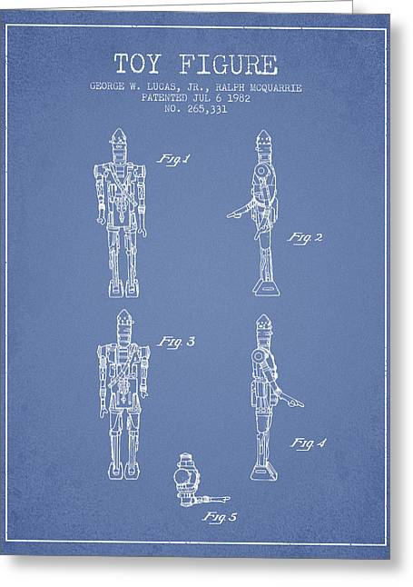 Science Fiction Art Greeting Cards - Star Wars Toy Figure no5 patent drawing from 1982 - Light Blue Greeting Card by Aged Pixel