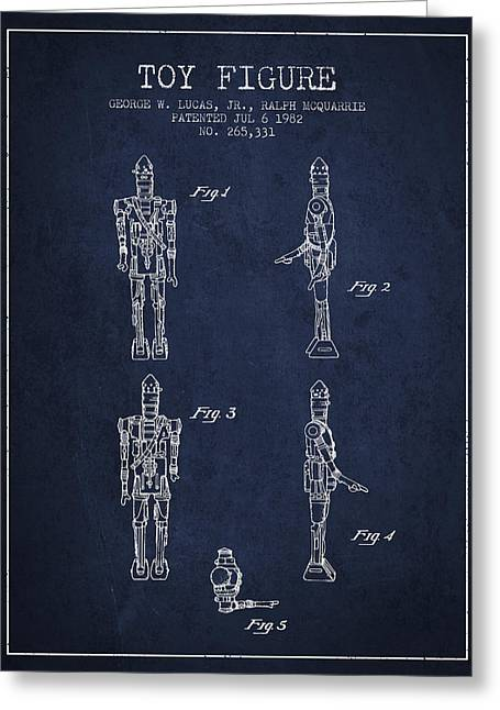 Science Fiction Art Greeting Cards - Star Wars Toy Figure no5 patent drawing from 1982 - Navy Blue Greeting Card by Aged Pixel