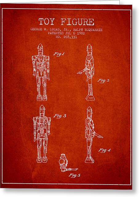 Science Fiction Art Greeting Cards - Star Wars Toy Figure no5 patent drawing from 1982 - red Greeting Card by Aged Pixel