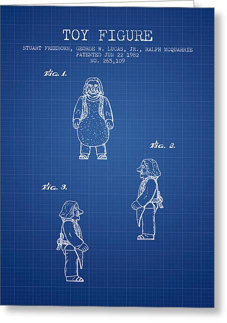 Science Fiction Art Greeting Cards - Star Wars Toy Figure patent drawing from 1982 - Blueprint Greeting Card by Aged Pixel