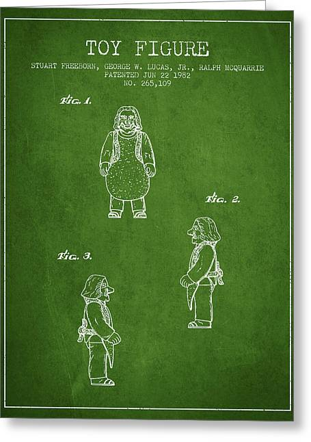 Science Fiction Art Greeting Cards - Star Wars Toy Figure patent drawing from 1982 - Green Greeting Card by Aged Pixel