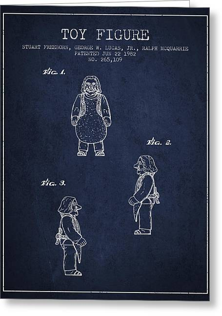 Science Fiction Art Greeting Cards - Star Wars Toy Figure patent drawing from 1982 - Navy Blue Greeting Card by Aged Pixel