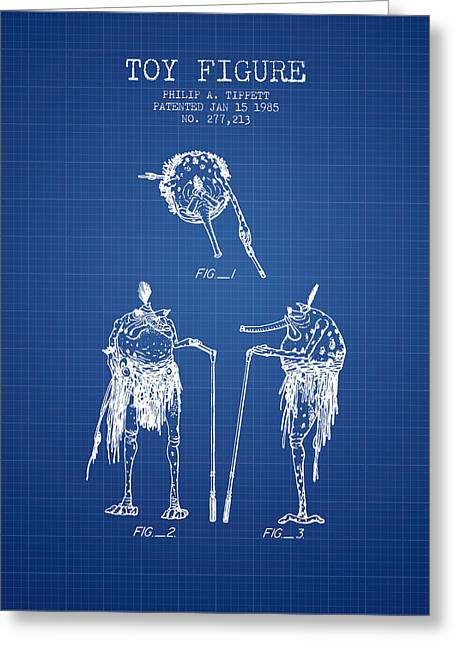 Science Fiction Art Greeting Cards - Star Wars Toy Figure patent drawing from 1985 - Blueprint Greeting Card by Aged Pixel