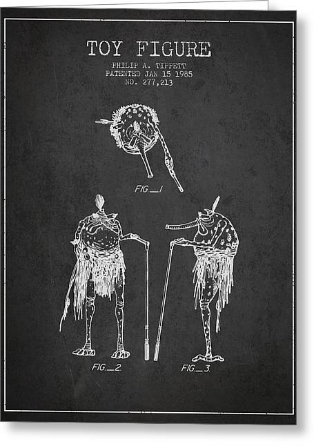 Science Fiction Art Greeting Cards - Star Wars Toy Figure patent drawing from 1985 - Charcoal Greeting Card by Aged Pixel