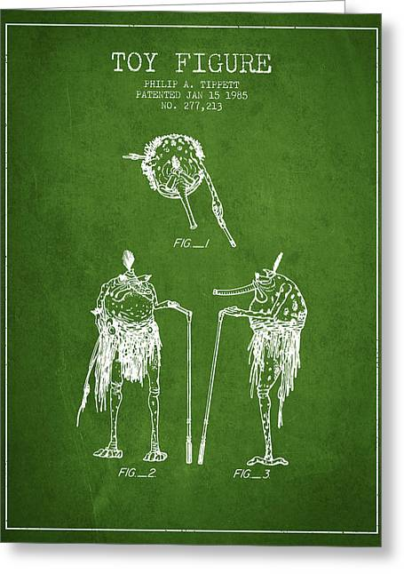Science Fiction Art Greeting Cards - Star Wars Toy Figure patent drawing from 1985 - Green Greeting Card by Aged Pixel