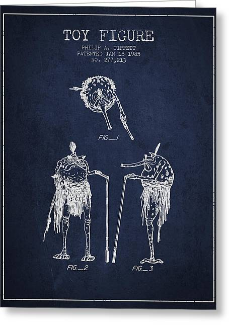 Science Fiction Art Greeting Cards - Star Wars Toy Figure patent drawing from 1985 - Navy Blue Greeting Card by Aged Pixel