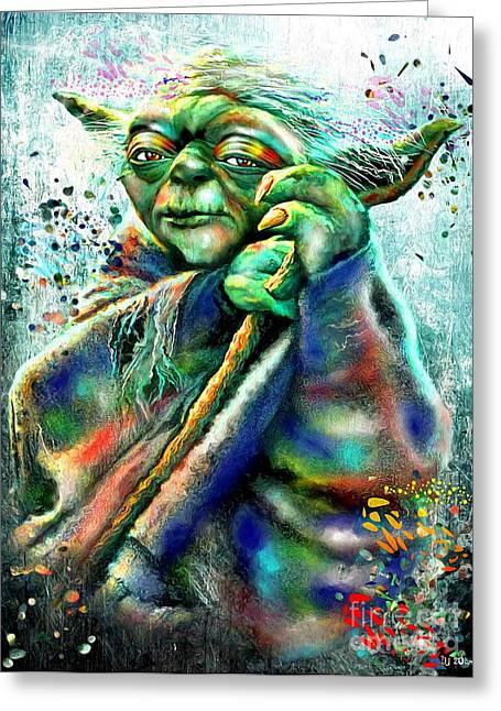Scifi Paintings Greeting Cards - Star Wars Yoda Greeting Card by Daniel Janda