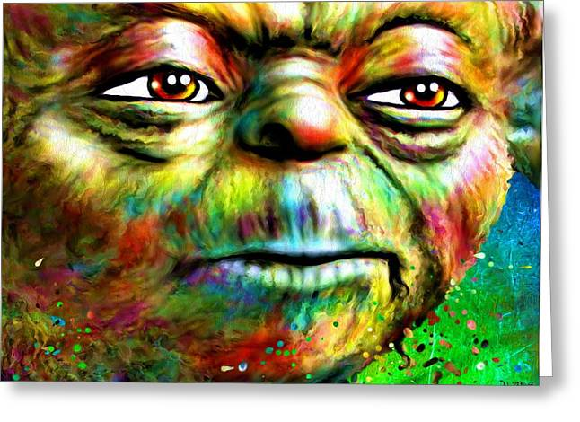 Star Wars Yoda Portrait Greeting Card by Daniel Janda
