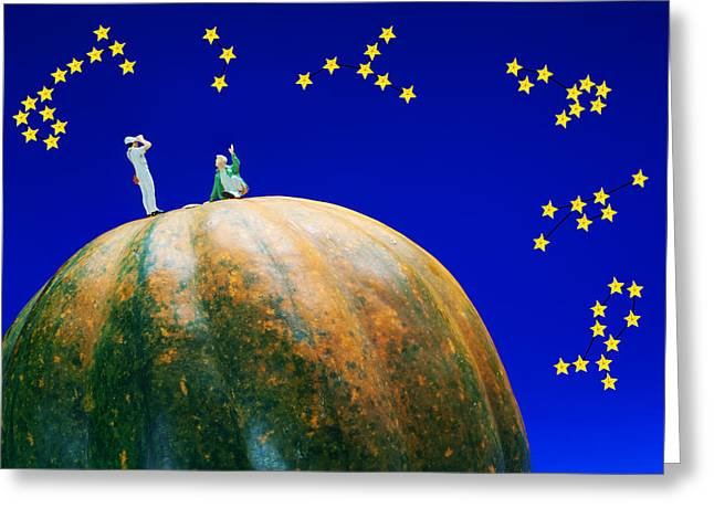 Constellations Greeting Cards - Star watching on pumpkin food physics Greeting Card by Paul Ge