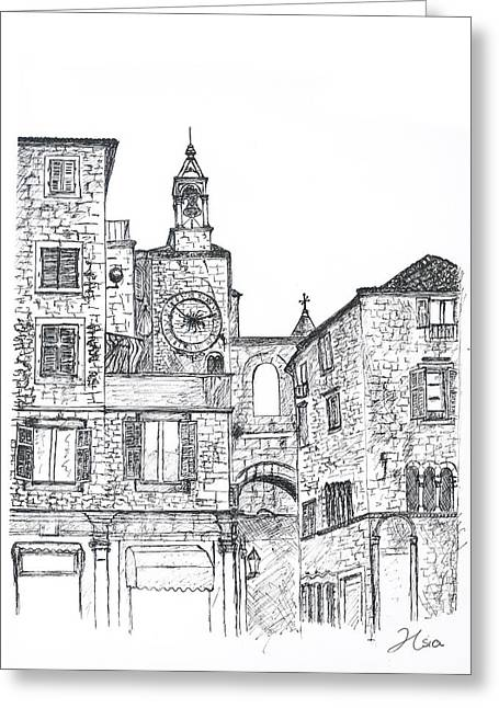 Split Drawings Greeting Cards - Stara Ura The Old Town Clock Greeting Card by Jessica Hsia