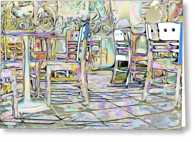 Table And Chairs Greeting Cards - Starbucks After Hours Greeting Card by Mark Greenberg