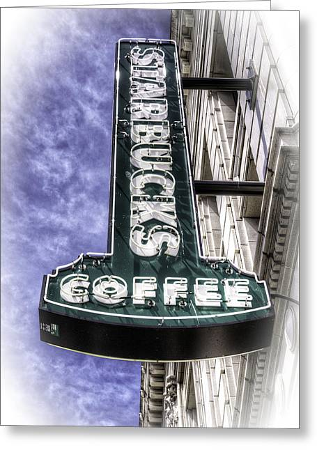 Italian Cafe Greeting Cards - Starbucks - Ballard Greeting Card by Spencer McDonald