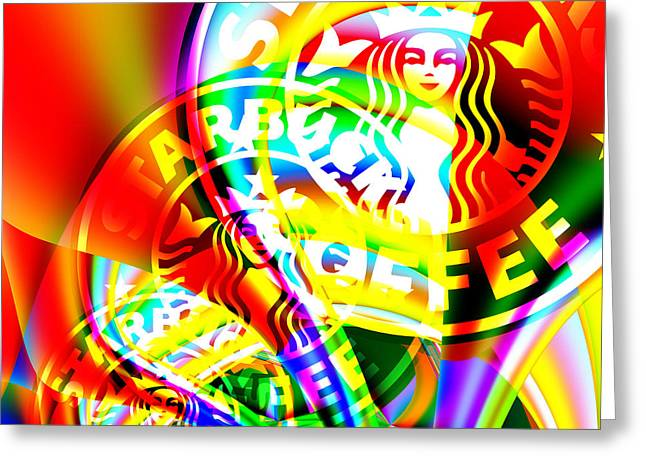 Rhythmic Greeting Cards - Starbucks Coffee In Abstract 20140704 square v1 Greeting Card by Wingsdomain Art and Photography