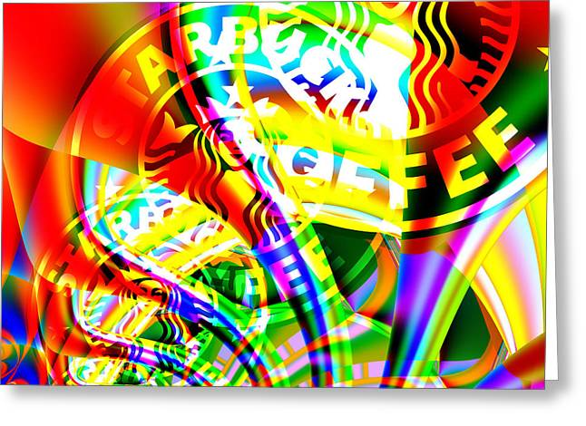 Sizes Greeting Cards - Starbucks Coffee In Abstract 20140704 square v2 Greeting Card by Wingsdomain Art and Photography