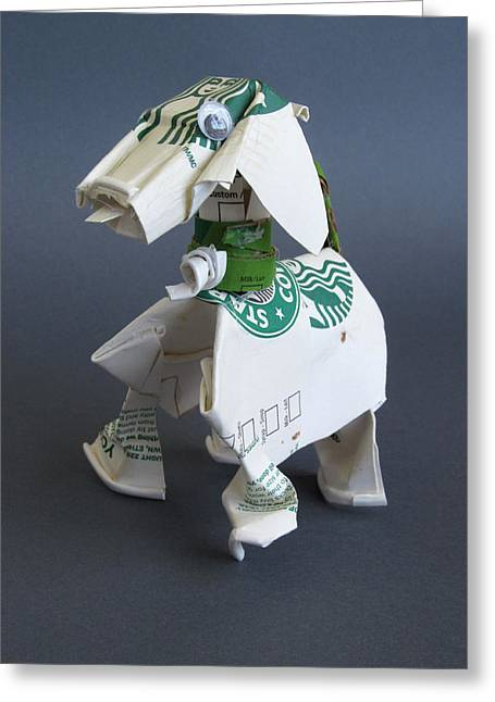 Animal Sculpture Sculptures Greeting Cards - Starbucks dog Greeting Card by Alfred Ng
