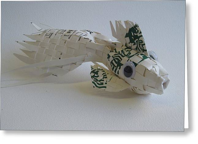 Fish Sculptures Greeting Cards - Starbucks Gold Fish Greeting Card by Alfred Ng