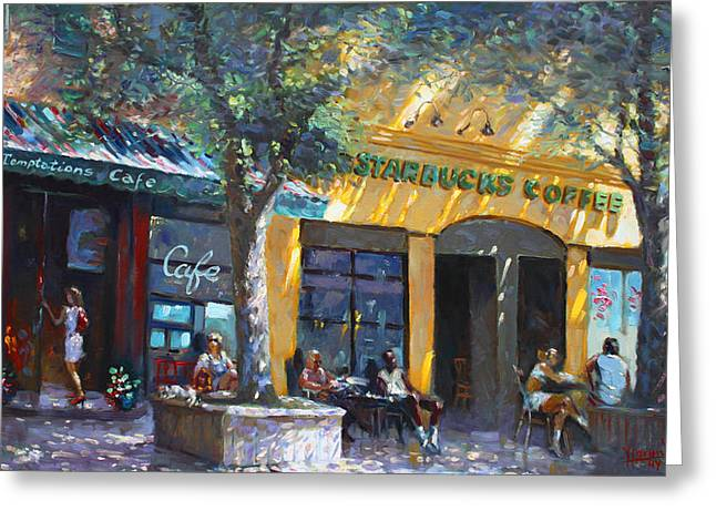 Main Street Greeting Cards - Starbucks Hangout Nyack NY Greeting Card by Ylli Haruni