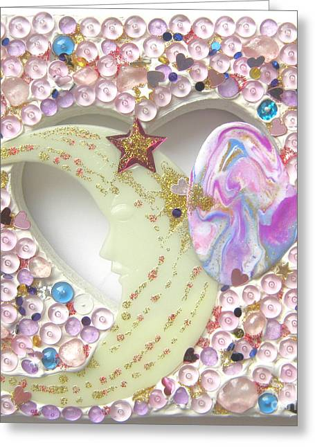 Golds Reliefs Greeting Cards - Starchild spreading stardust Greeting Card by Heidi Sieber