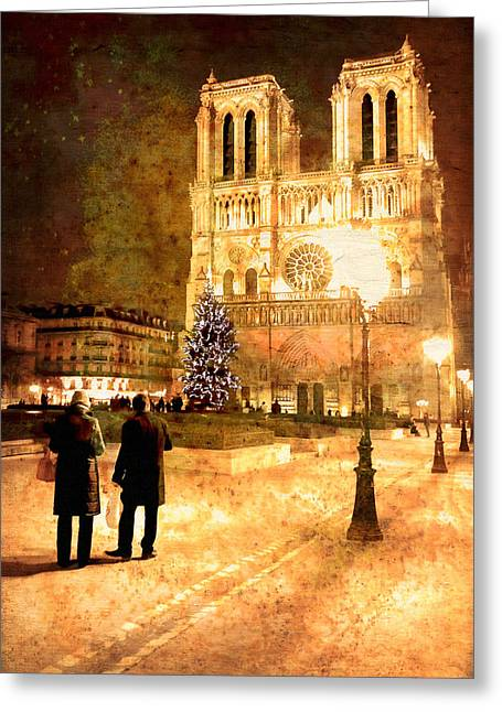 Paris At Night Greeting Cards - Stardust Over Notre Dame de Paris Cathedral Greeting Card by Mark Tisdale
