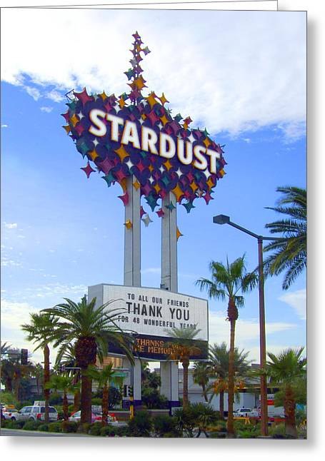 Las Vegas Art Greeting Cards - Stardust Sign Greeting Card by Mike McGlothlen
