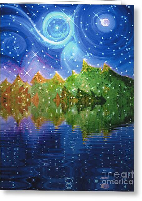 Fantasy Tree Greeting Cards - Starfall Greeting Card by First Star Art