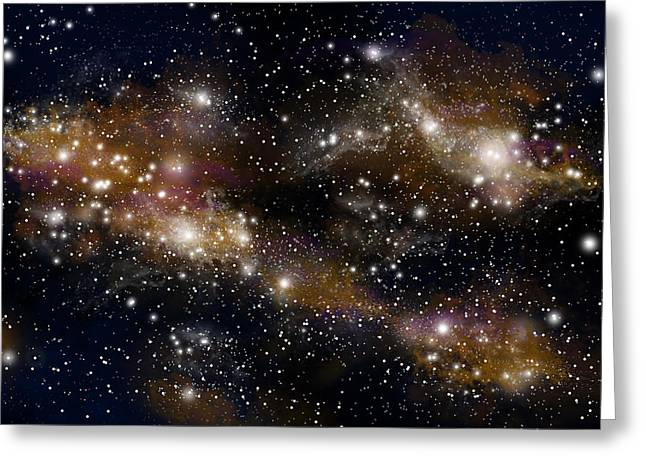Jet Star Mixed Media Greeting Cards - Starfield No.31314 Greeting Card by Marc Ward