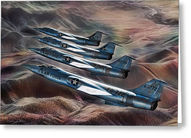 Starfighter Greeting Cards - Starfighter 4-Ship Greeting Card by Peter Chilelli