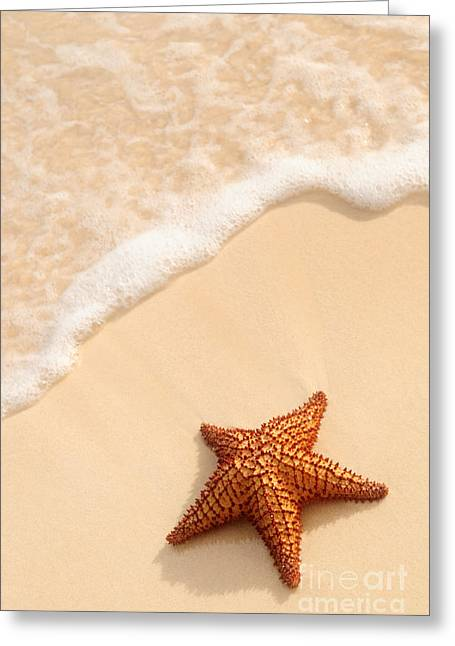 White Photographs Greeting Cards - Starfish and ocean wave Greeting Card by Elena Elisseeva