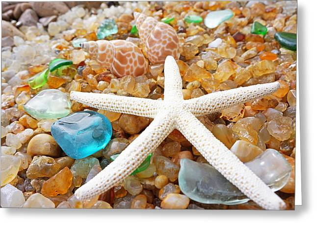 Agate Beach Greeting Cards - Starfish Art Prints Shells Agates Coastal Beach Greeting Card by Baslee Troutman