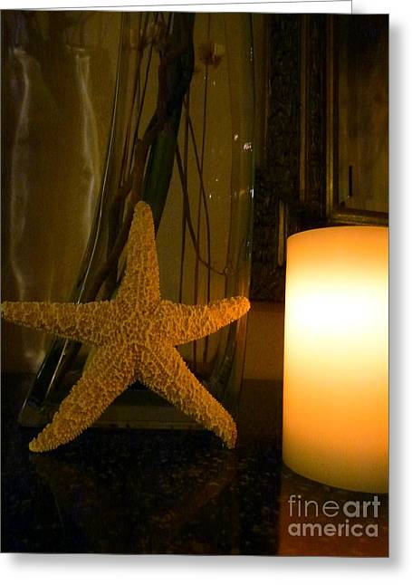Candle Lit Greeting Cards - Starfish Candleglow Still Life Greeting Card by Barbie Corbett-Newmin