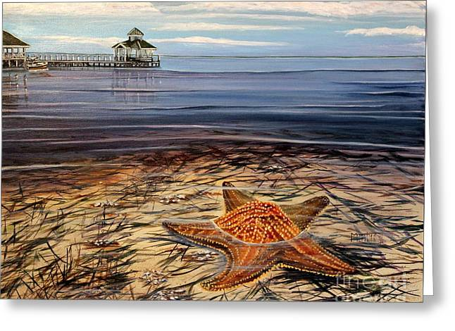 Cushion Paintings Greeting Cards - Starfish Drifting Greeting Card by Marilyn  McNish