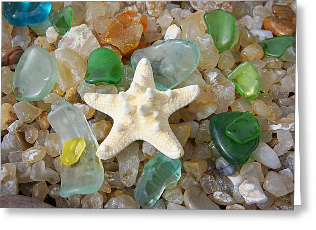 Agate Beach Greeting Cards - Starfish Fine Art Photography Seaglass Coastal Beach Greeting Card by Baslee Troutman
