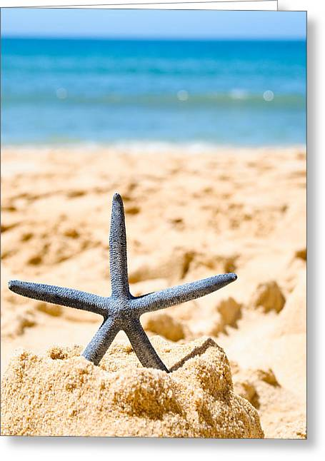Sandcastle Greeting Cards - Starfish On Algarve Beach Portugal Greeting Card by Amanda And Christopher Elwell