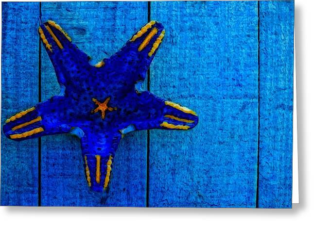 Seashell Picture Mixed Media Greeting Cards - Starfish Shape On Blue Wooden Boards Greeting Card by Ken Biggs