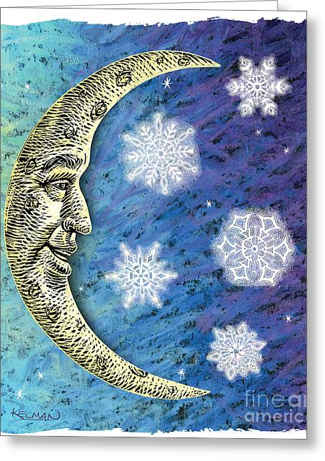 Man In The Moon Greeting Cards - Starflakes Greeting Card by Milan Kecman