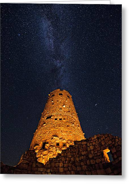 Andromeda Galaxy Greeting Cards - Stargazer - Grand Canyon Night Sky Greeting Card by Adam  Schallau